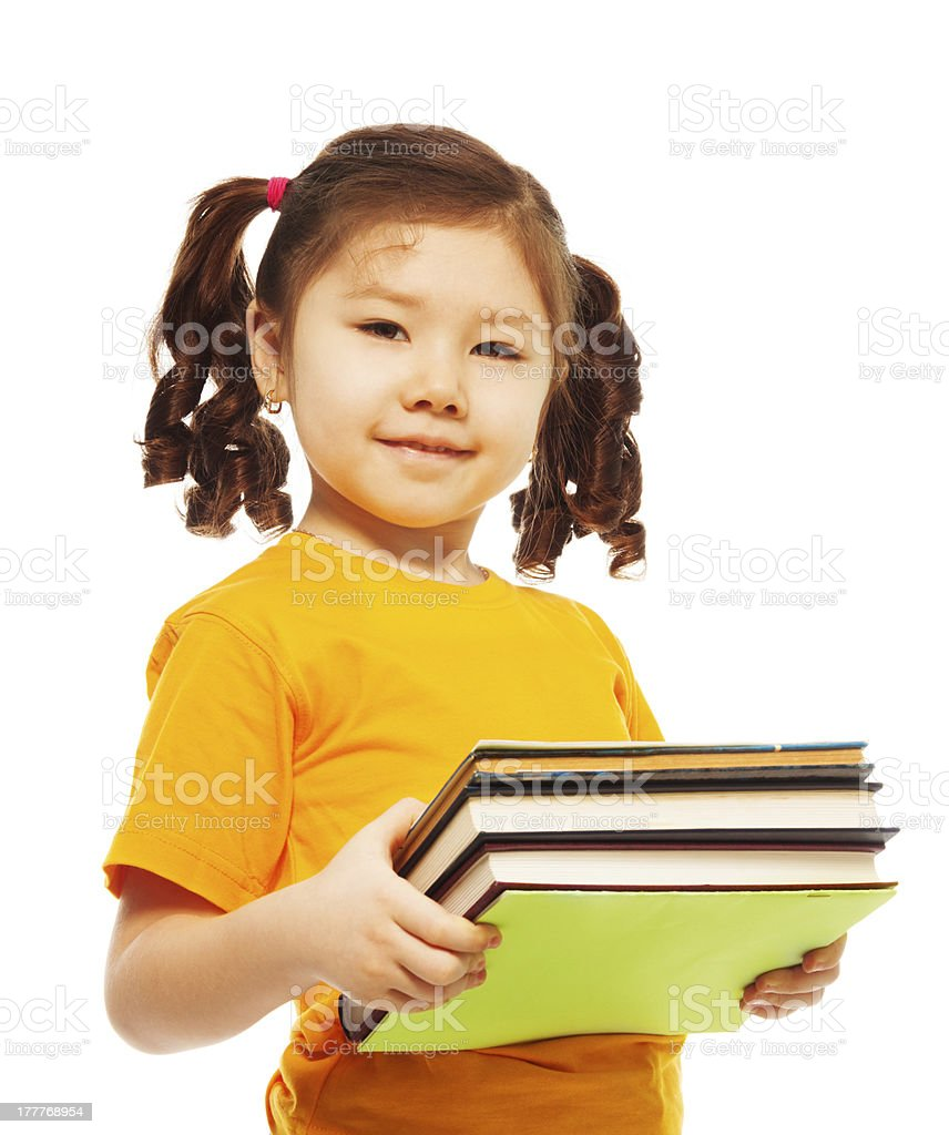 Clever kid with books royalty-free stock photo