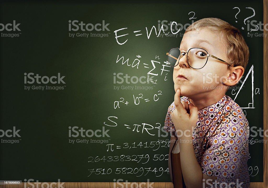 Clever pupil boy portrait stock photo