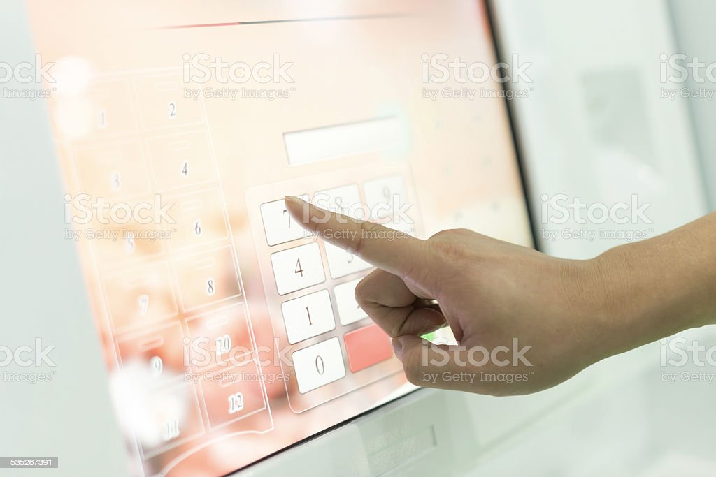 Click and input the digital number pad stock photo