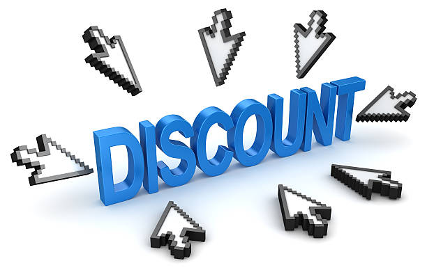 click to discount concept - mouse pointer stock photos and pictures
