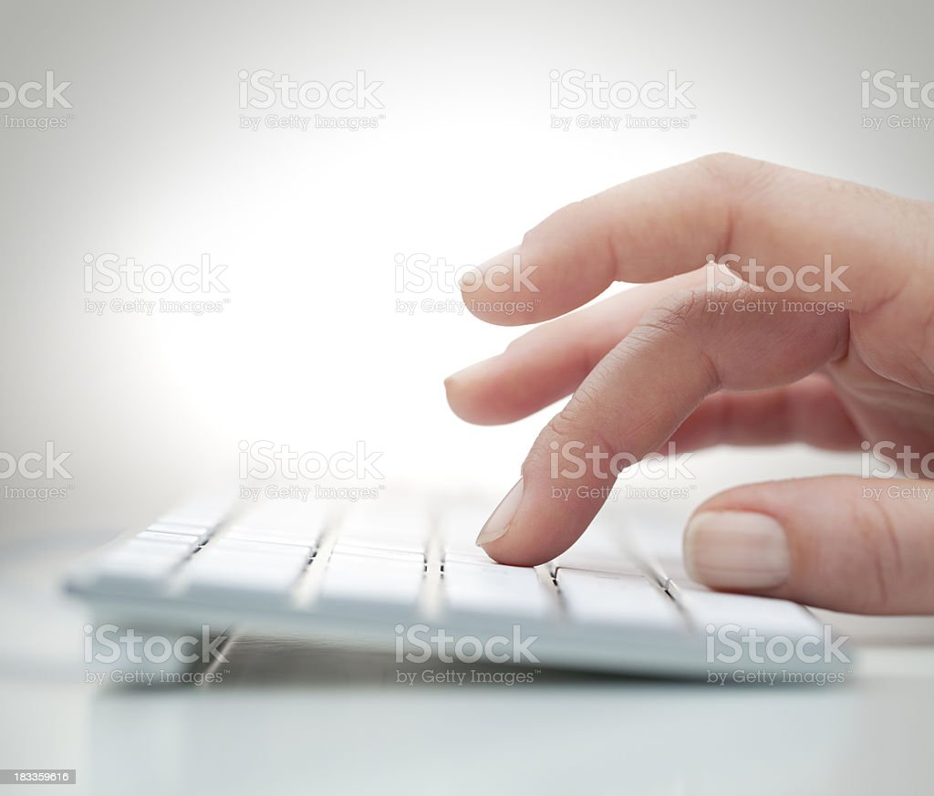 Clicking computer keyboard royalty-free stock photo