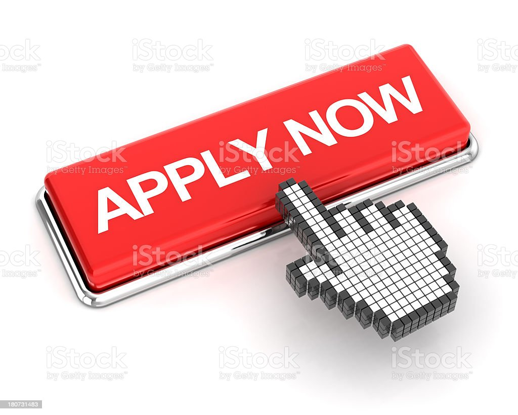 Clicking on apply now button, 3d render stock photo