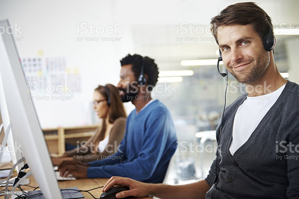 Client assistance is his speciality royalty-free stock photo