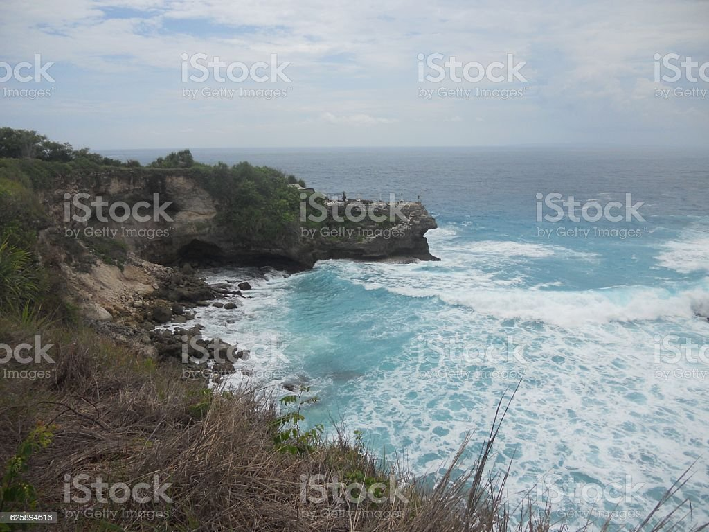 Cliff and beach view stock photo