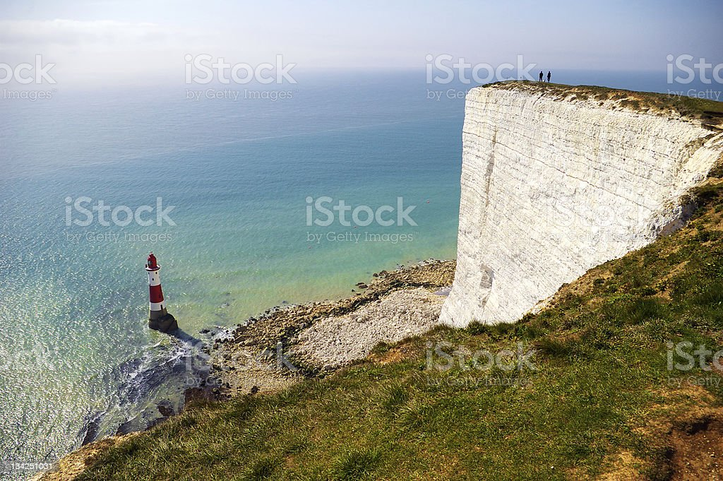 Cliff and lighthouse stock photo