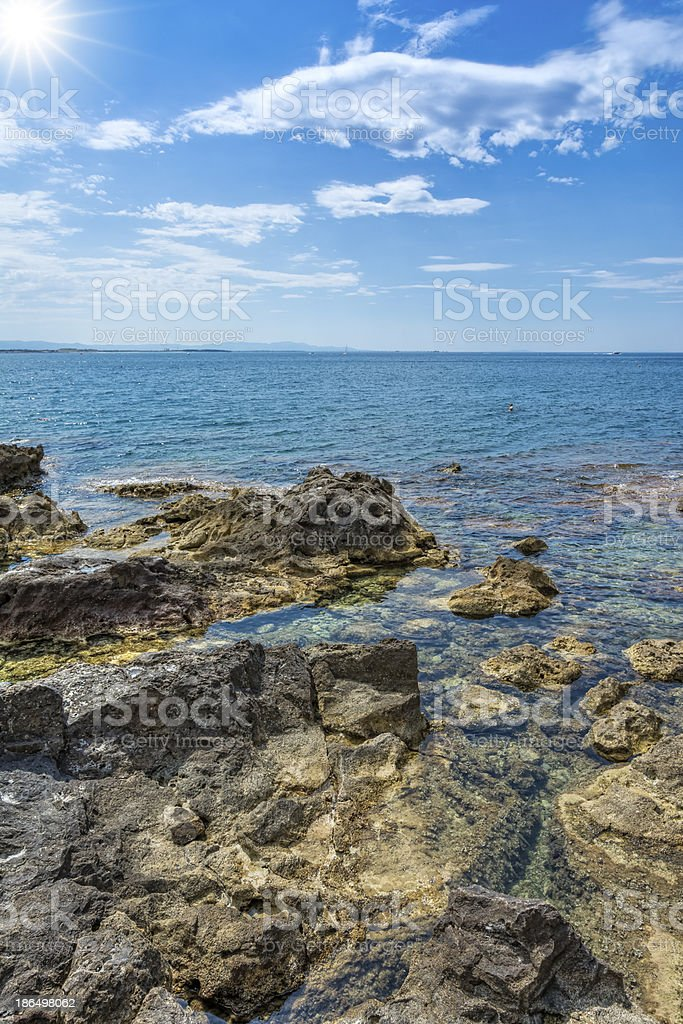 Cliff and sea in Tuscany royalty-free stock photo