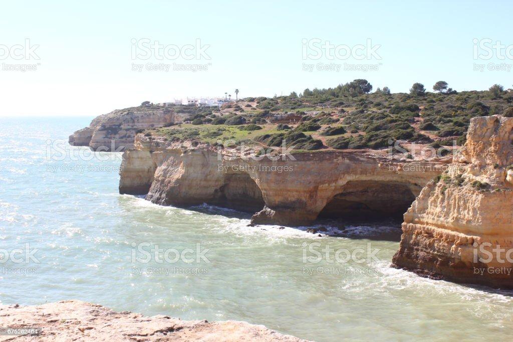 Cliff at Carvoeiro stock photo