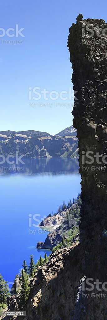 cliff at crater lake, OR stock photo