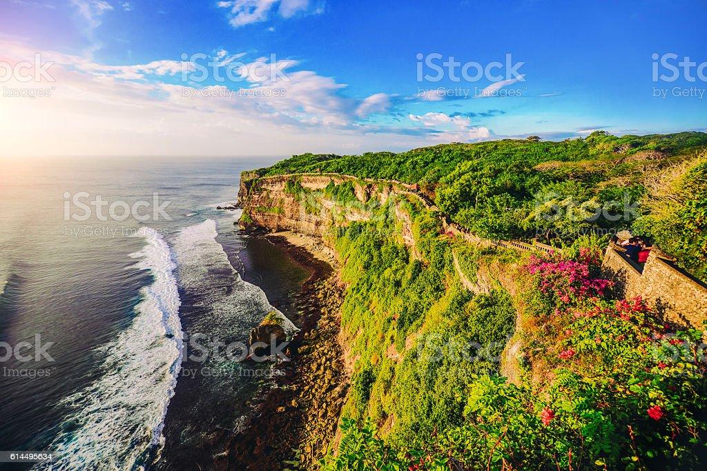 Cliff at Uluwatu Temple on Sunset in Bali, Indonesia stock photo
