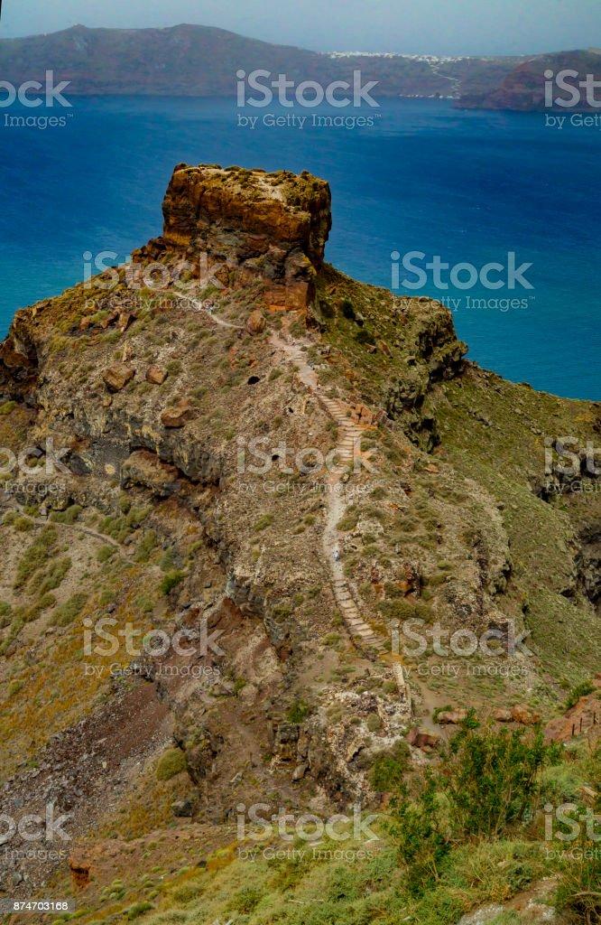 Cliff Caldera path stock photo