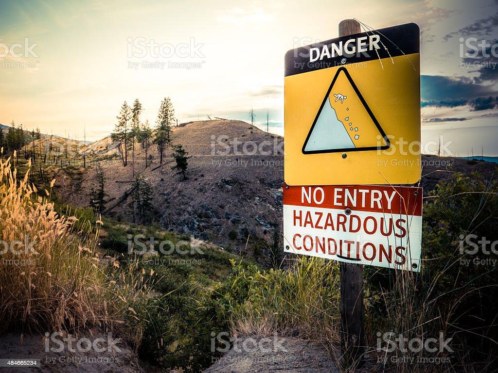 Cliff Danger Sign stock photo