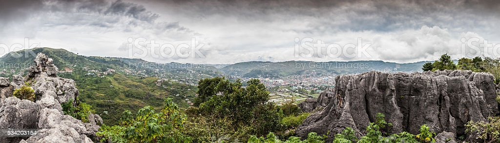 Cliff edge panorama stock photo
