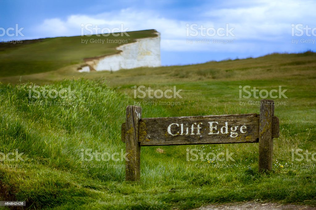 Cliff edge warning, Dover cliffs. stock photo