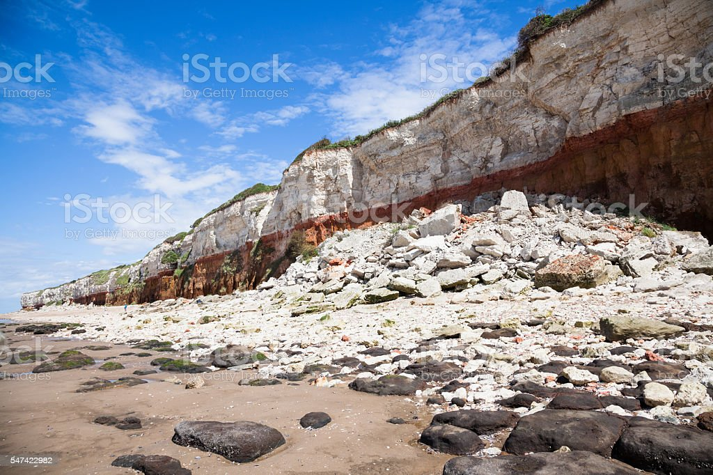 cliff erosiion and shoreline  at Hunstanton Eastern England in summer stock photo