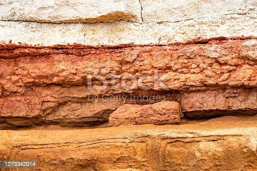 The chalk and sandstone cliffs are constantly being eroded and collapsing on to the beach.  This shows the different coloured rock strata and cracks between them that make them exceptionally unstable.