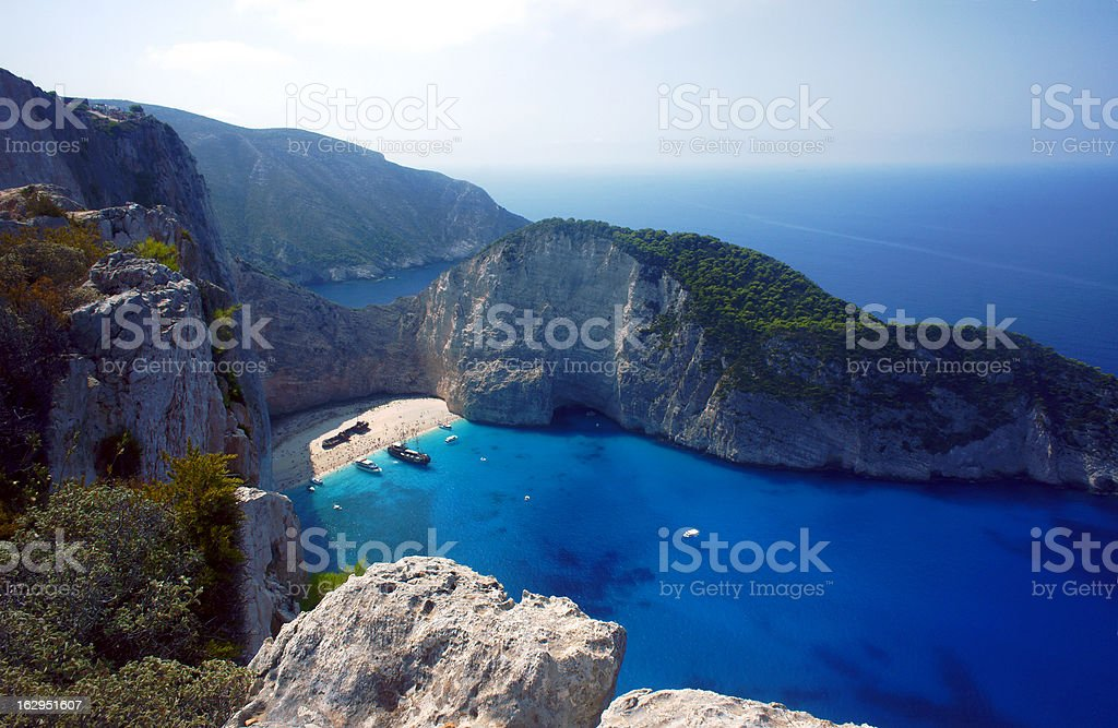 cliff face with shipwreck on Zakynthos island royalty-free stock photo