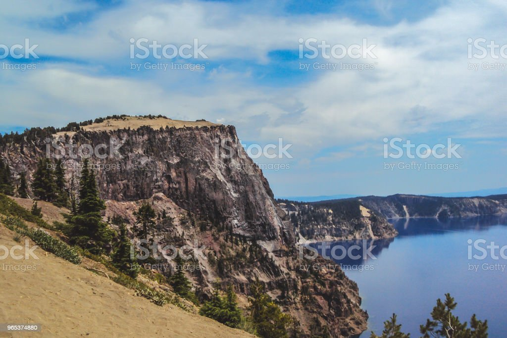 Cliff formation on the rim of Crater Lake in Oregon royalty-free stock photo