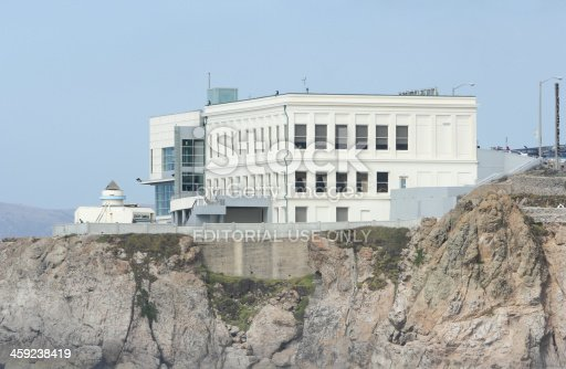 San Francisco, United States - October 7, 2011: People walk around Cliff House overlooking the Pacific at Ocean Beach. A giant camera observation area can be seen on the left.