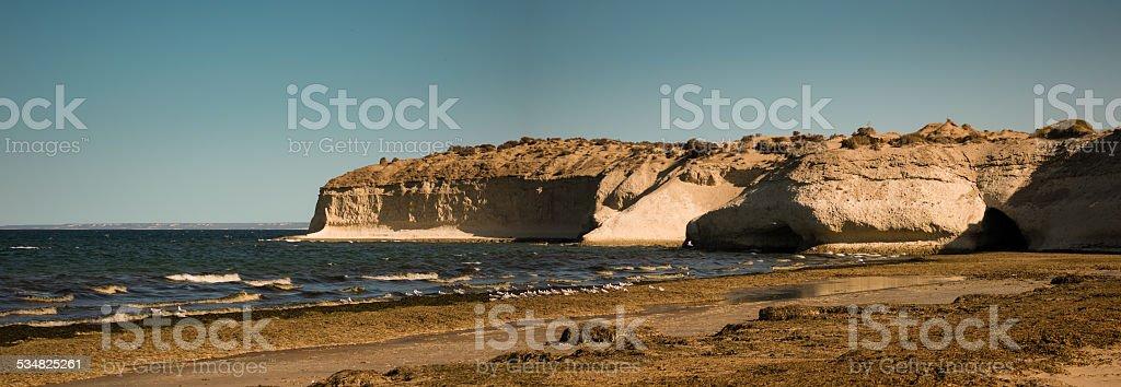 cliff en puerto madryn patagonia, argentina - foto de stock