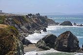 Cliff in the Pacific ocean,  Big Sur California USA
