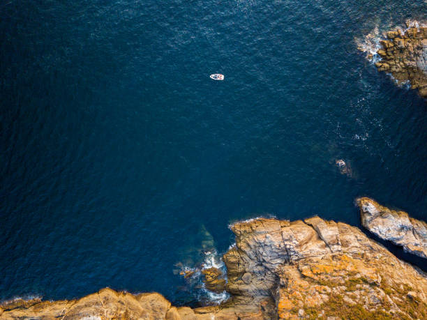 cliff in the rias baixas, galicia - rocky coastline stock pictures, royalty-free photos & images