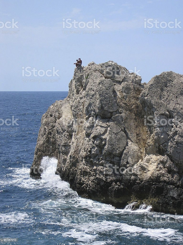 Cliff Jumpers in Capri, Italy royalty-free stock photo