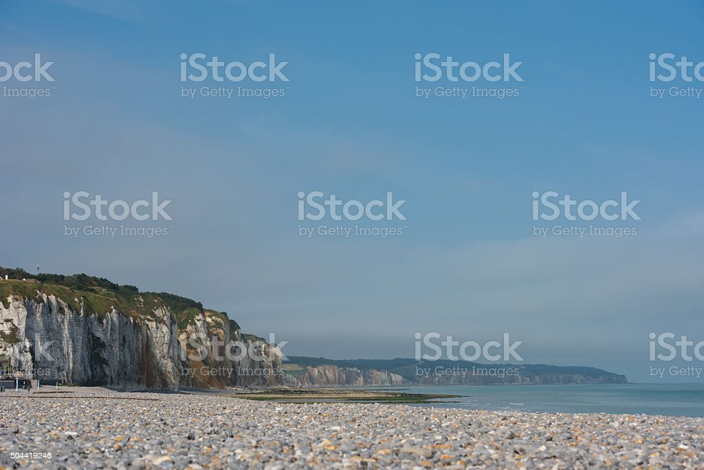 Cliff lined beaches of Normandy. France stock photo