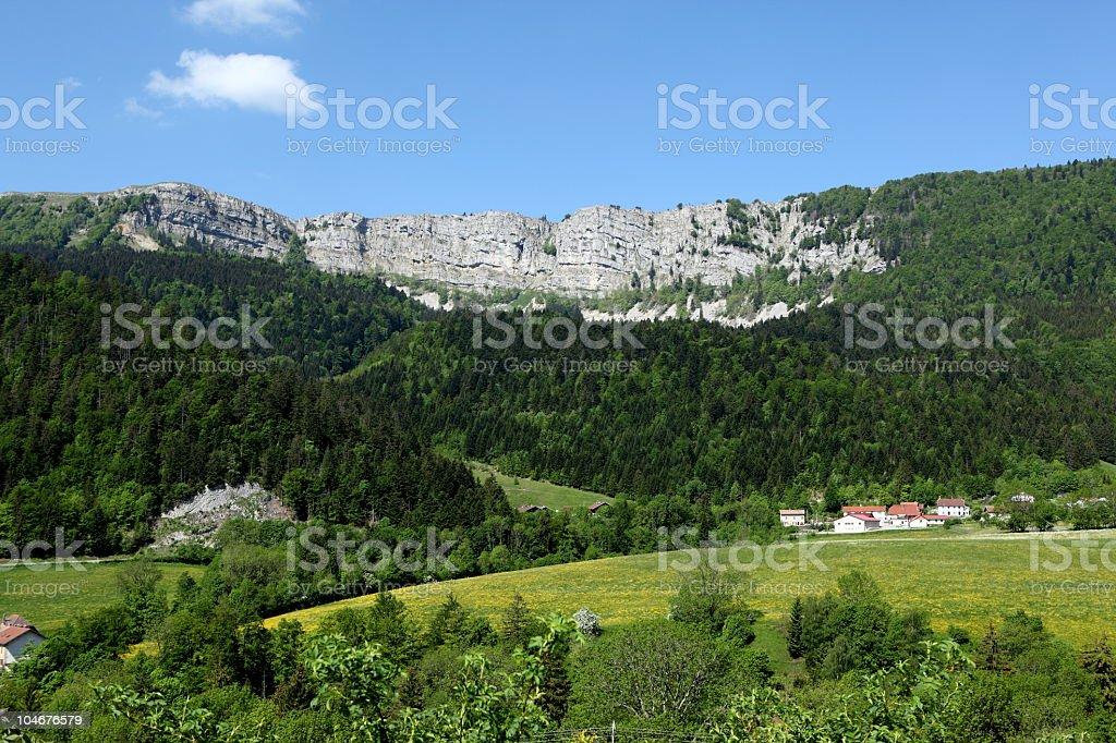 Cliff of Piquemiette in Franche Comté, France stock photo