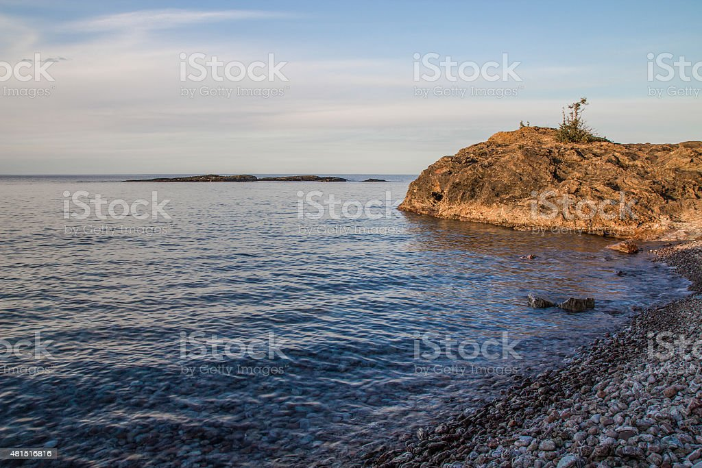 Cliff On The Rugged Coast Of Lake Superior stock photo