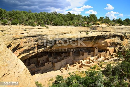 Cliff Palace is seen from the trail approaching the site in Mesa Verde National Park, Colorado.