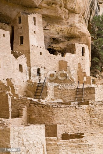 Mesa Verde is a National Park in southern Colorado renown for its Indian Cliff Dwellings. Cliff Palace is the  largest cliff dwelling in North America. The holes with ladders are kivas, underground chambers used for ceremonies and meetings.