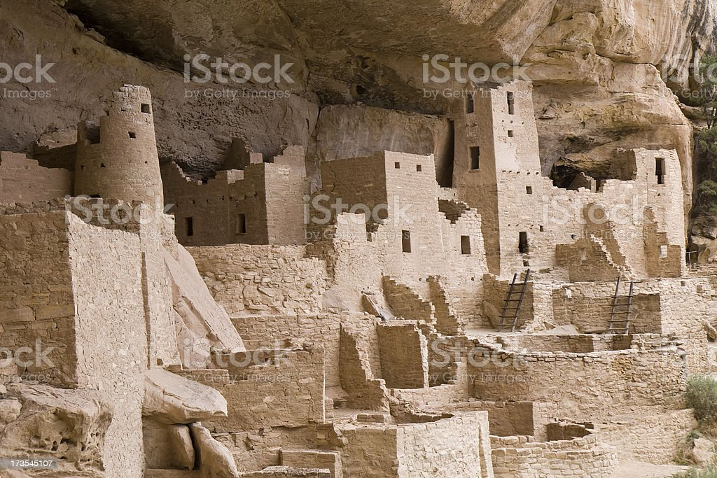 Cliff Palace Cliff Dwellings in Mesa Verde National Park stock photo