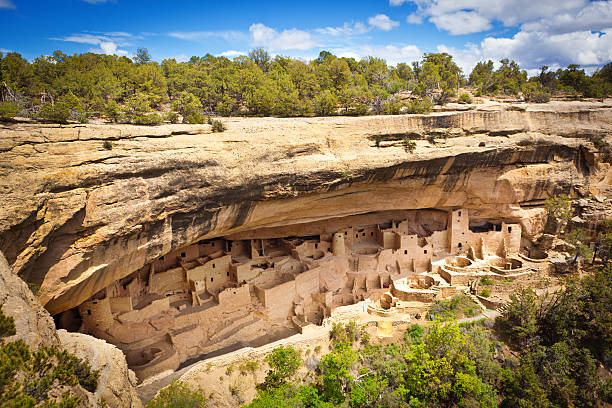 Cliff Palace in Mesa Verde, Ancient Pueblo Cliff Dwelling, Colorado stock photo