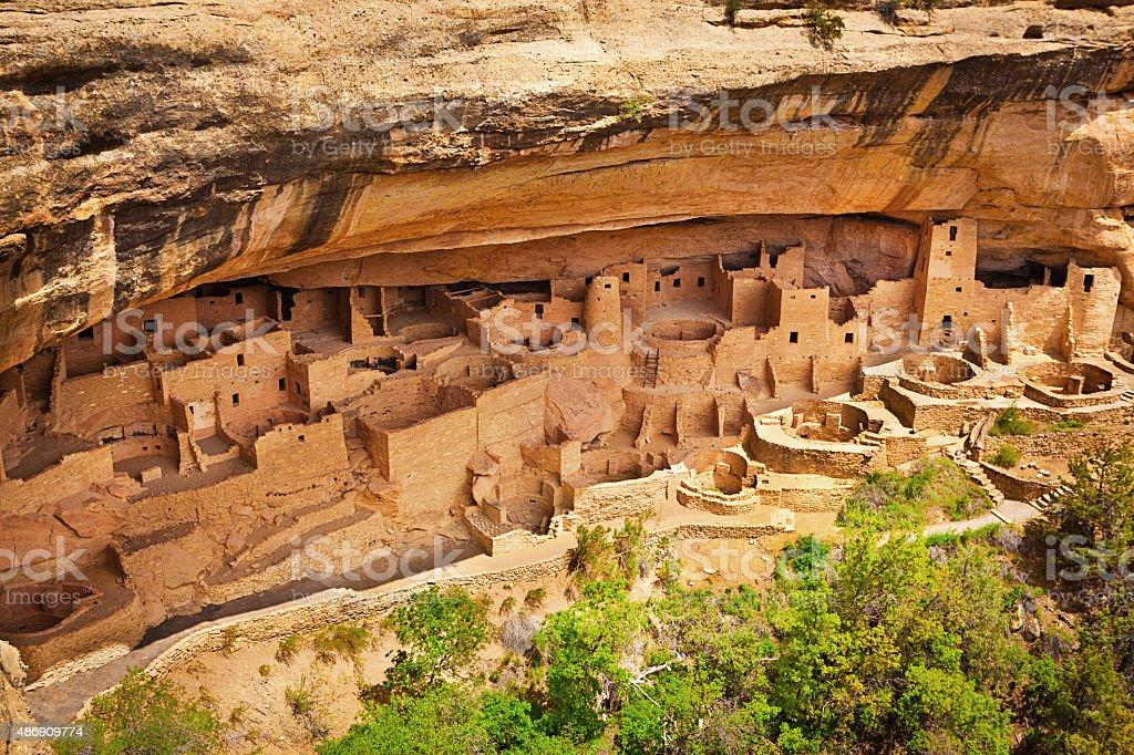 Cliff Palace in Mesa Verde, Ancient Pueblo Cliff Dwelling, Colorado stock photo