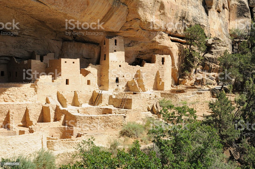 Cliff palace in Mesa Verde, Colorado landscape stock photo