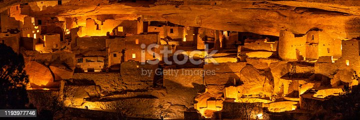 Cliff Palace, the largest cliff dwelling in North America, illuminated once a year during the Luminaria Festival in Mesa Verde National Park, Colorado.