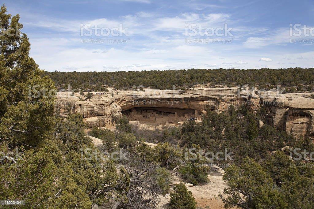 Cliff Palace ruins Mesa Verde NP Colorado Copy Space stock photo
