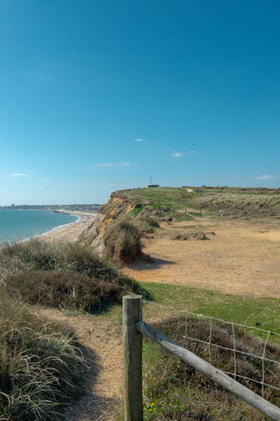 Cliff path with gate in Dorset Seaside stock photo