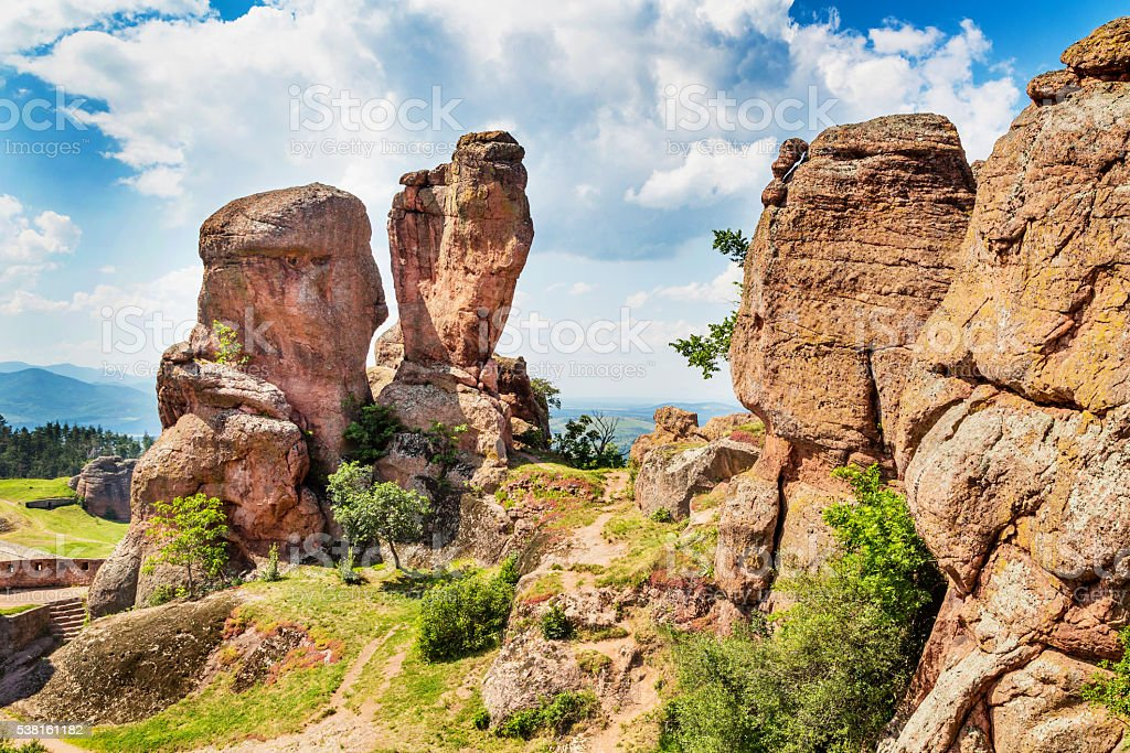 Cliff rocks in Belogradchik, Bulgaria stock photo