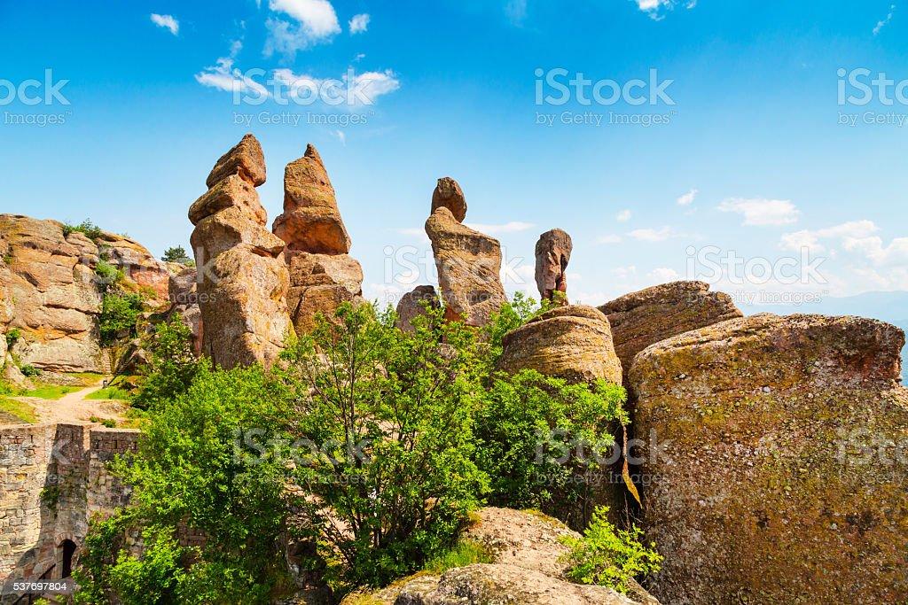 Cliff rocks near ancient Kaleto fortress, Belogradchik, Bulgaria stock photo