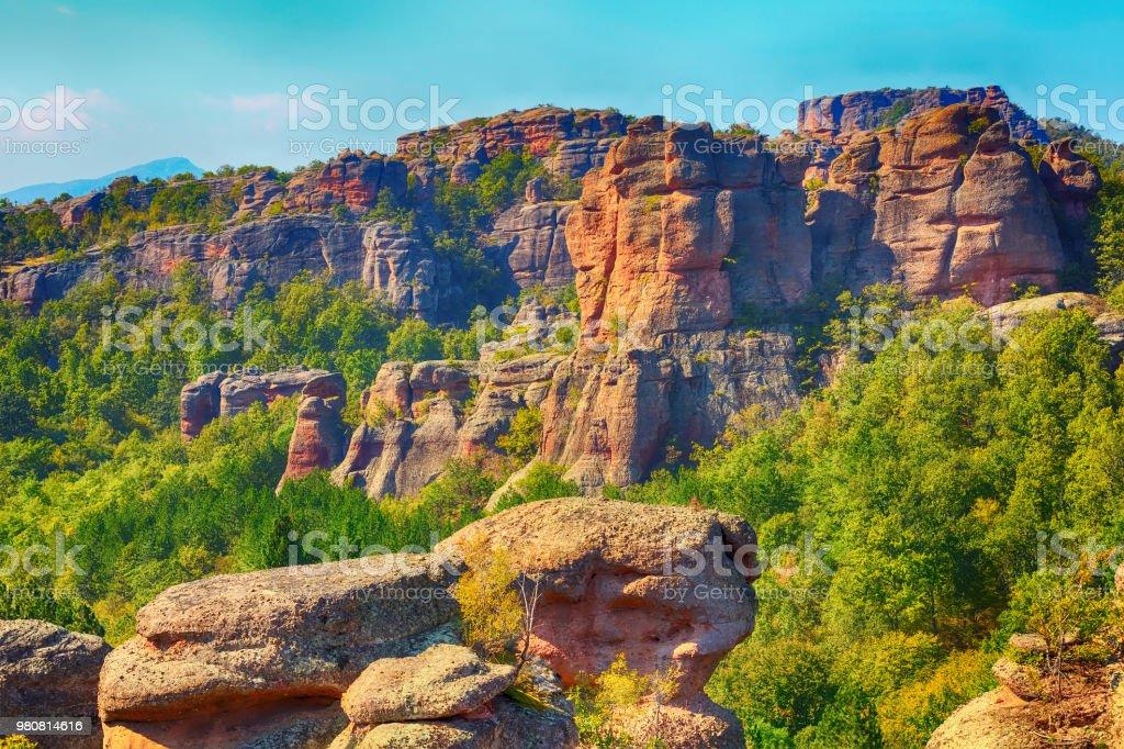 Cliff rocks panorama, Belogradchik, Bulgaria stock photo