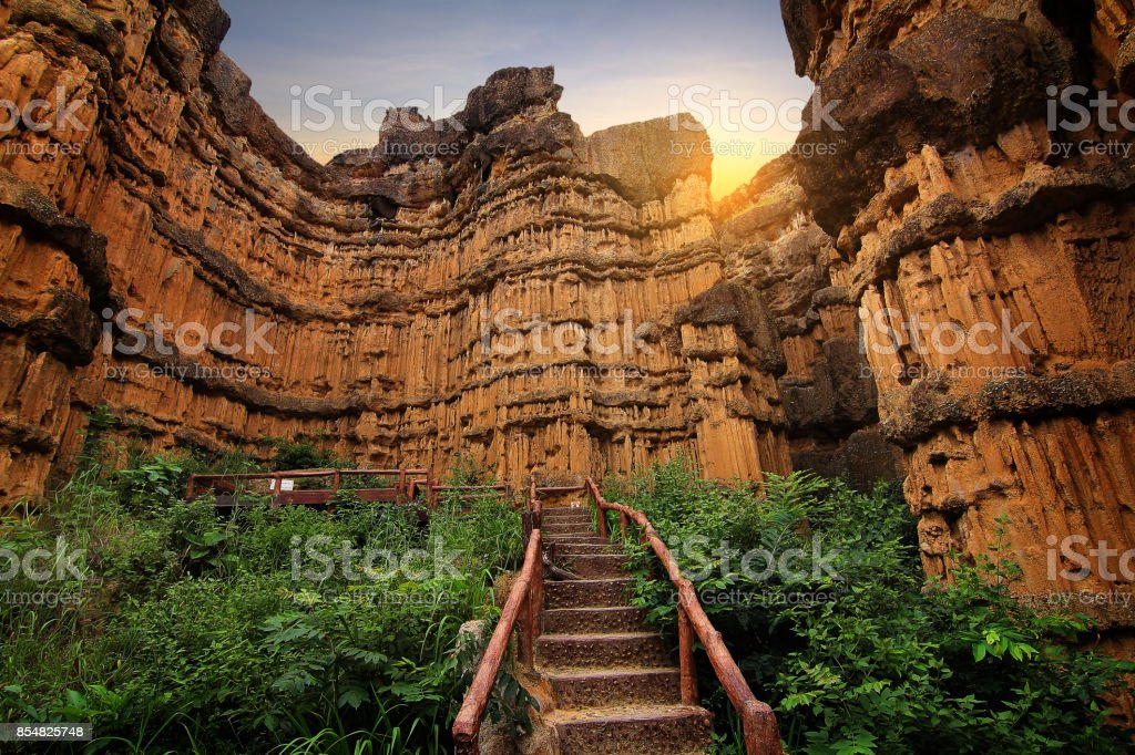 Cliff stone of Pha Chor is tourist attraction place at the Doi Lo district Chiang Mai, in Thailand , is a very popular for photographer and tourists. Attractions and tourism Concept stock photo