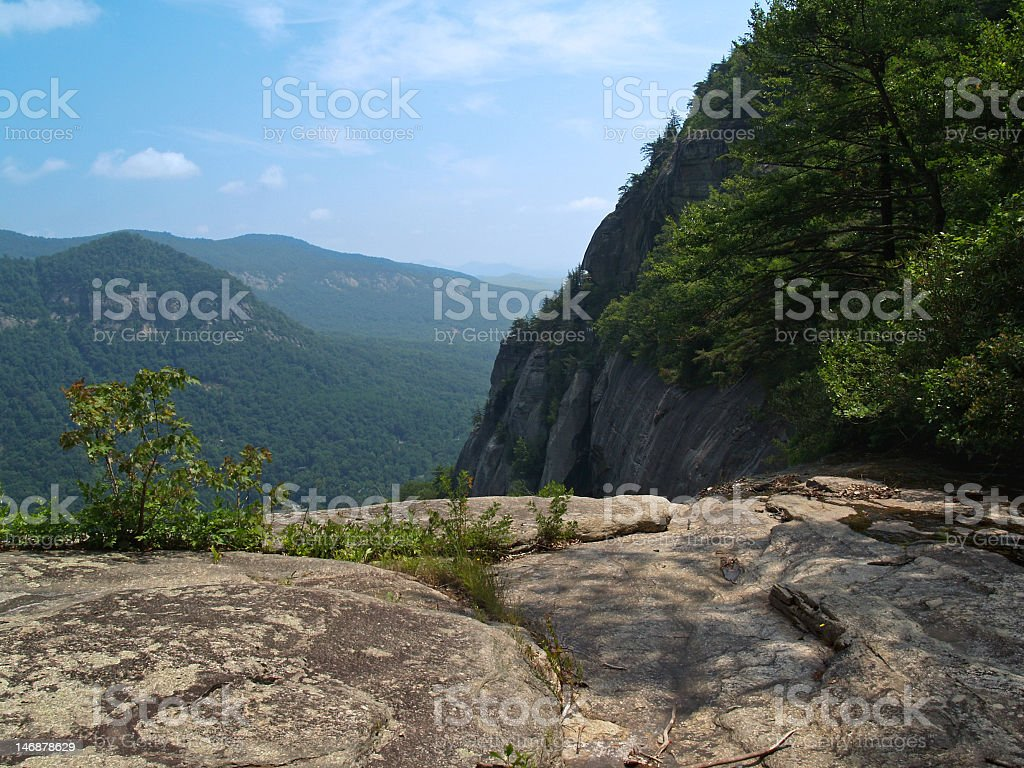 Cliff View of Chimney Rock State Park in North Carolina stock photo