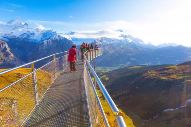 Cliff Walk in Grindelwald First, Switzerland stock photo