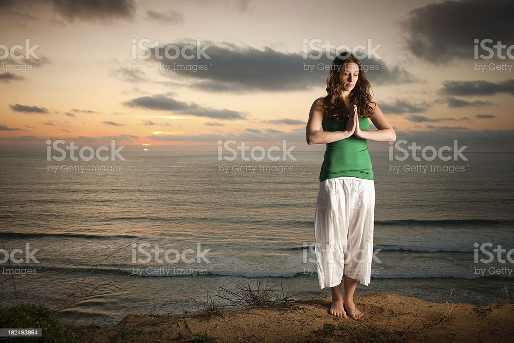 Cliff Yoga stock photo