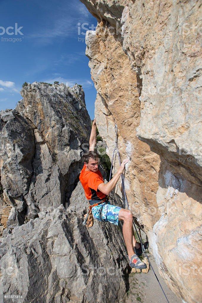 Cliffhanger. stock photo