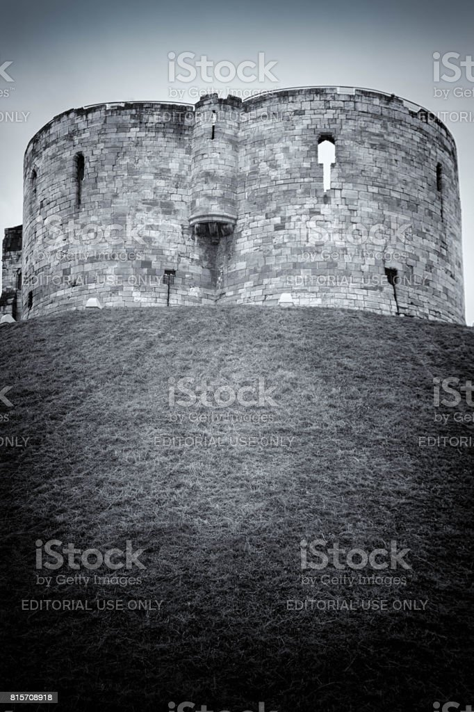 Clifford's Tower at York Castle in England stock photo