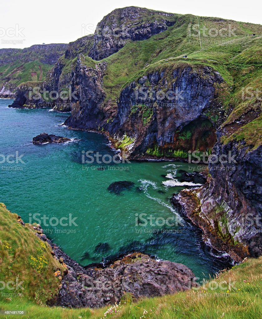 Cliffs along Irish Coast east of Carrick-a-rede island stock photo