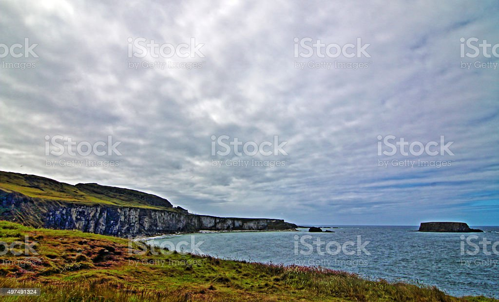 Cliffs along Irish Coast just west of Carrick-a-rede island stock photo