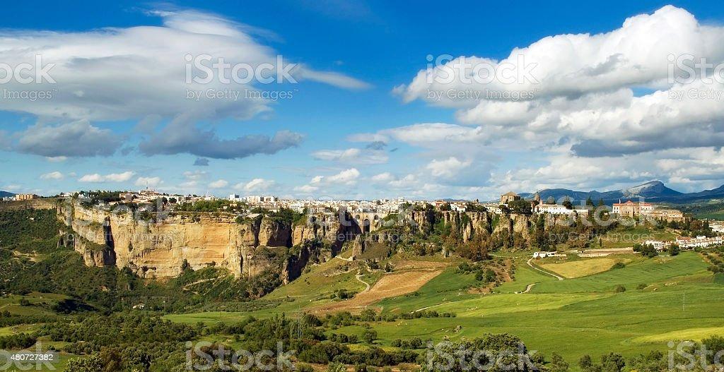 Cliffs and new bridge Ronda, Puente Nuevo, Andalusia, Spain stock photo